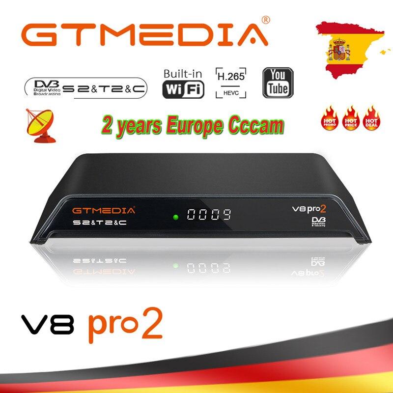 GTMedia V8 Gtmedia V8 pro2 H.265 DVB-S2 + T2 + DVB-C спутниковый ресивер встроенный wifi PowerVu Biss V8 PRO 2 2 года Европа