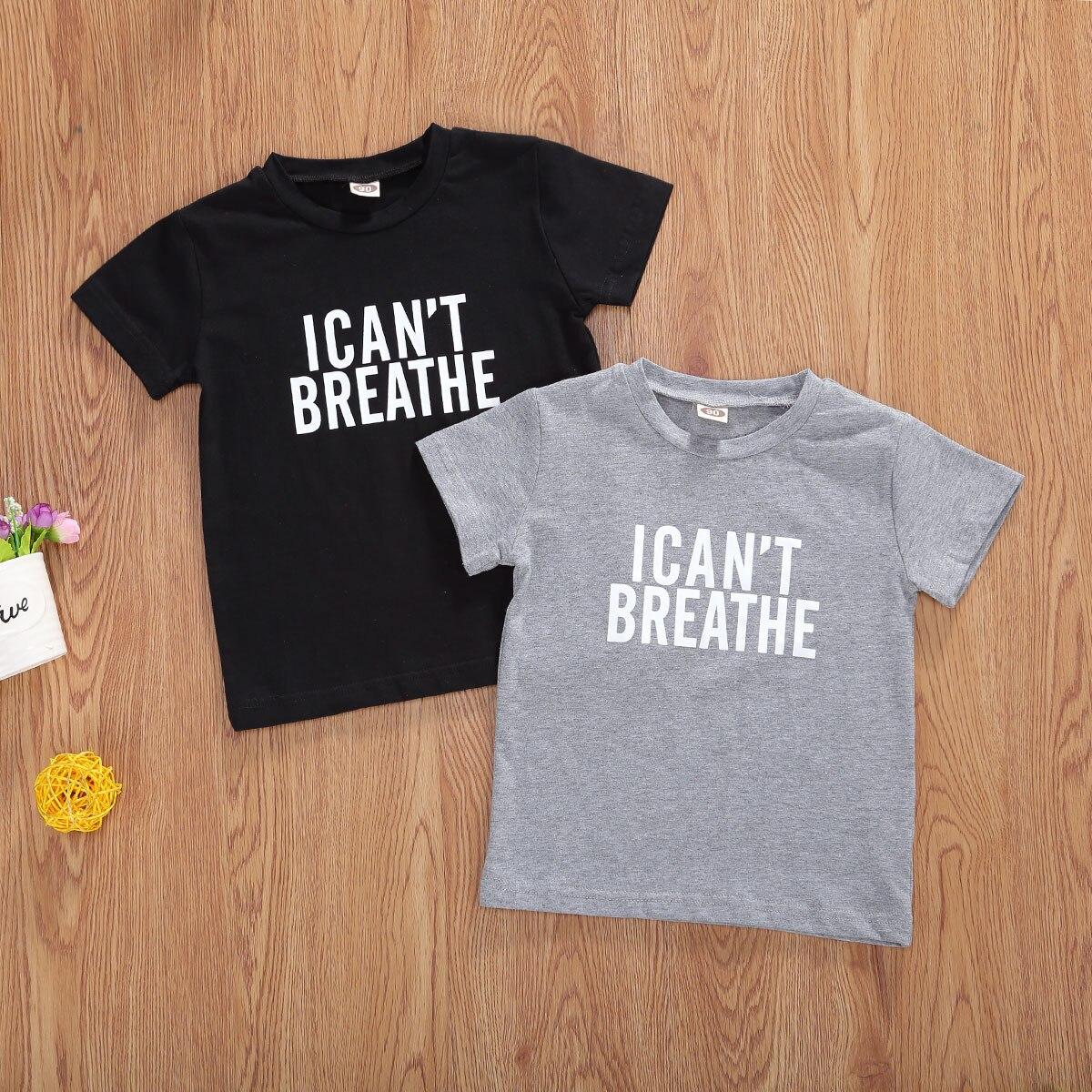 1-5years eu não posso respirar impresso camiseta para a criança crianças bebê menino meninas unisex manga curta topos roupas de verão