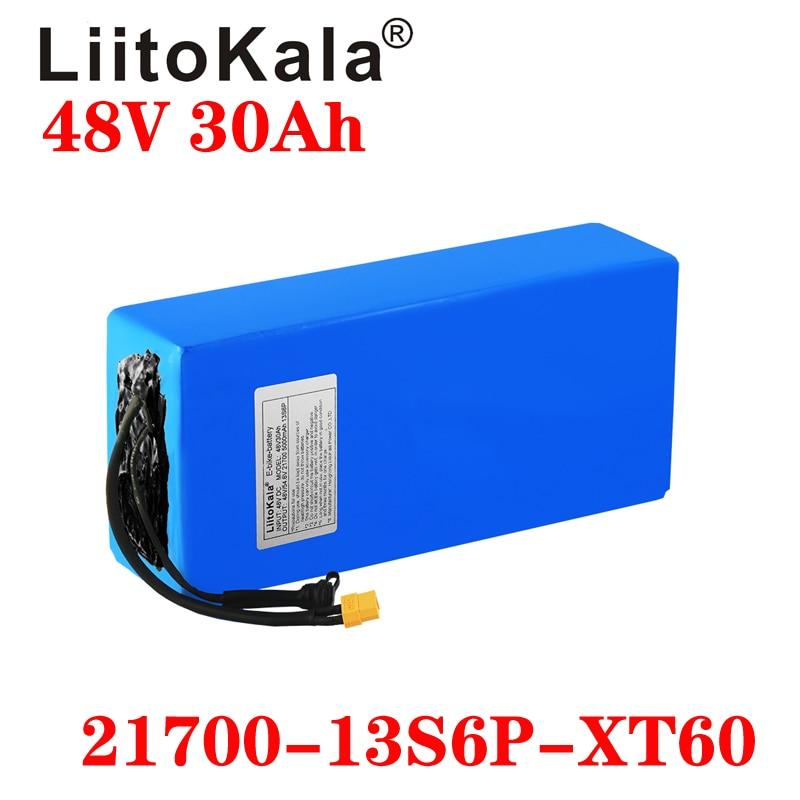 LiitoKala 48V 30Ah 21700 5000mah 13S 6P بطارية أيون الليثيوم سكوتر بطارية 48v 30ah دراجة كهربائية بطارية XT60 التوصيل 30A BMS