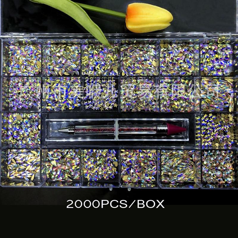 2000 قطعة/صندوق 20 شكل (كل 100 قطعة) كريستال AB شكل صغير مسطح مسمار الفن حجر الراين مع 1 قطعة القلم التقاط حجر الراين CZBW5