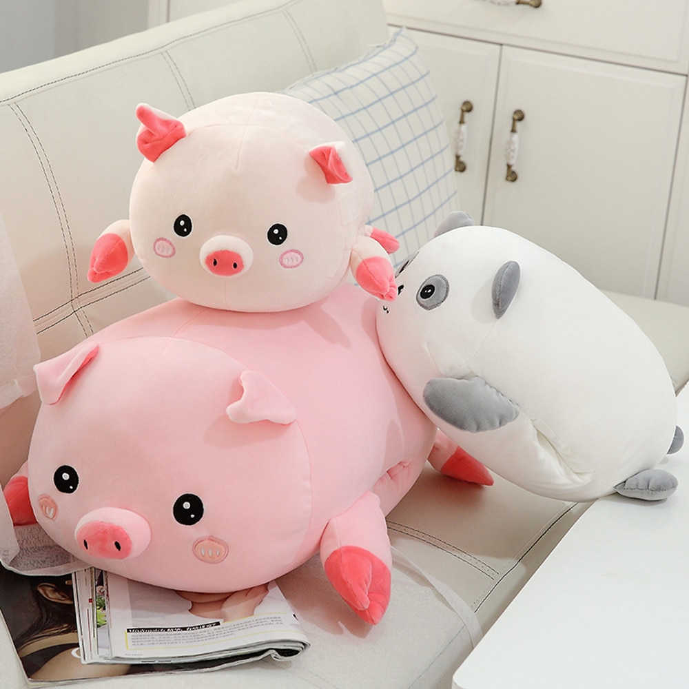 Cerdo bonito Panda muñeco de peluche felpa de mentira Piggy Panda almohada lindos animales salvajes suave Plushie calentador de manos niños regalo reconfortante