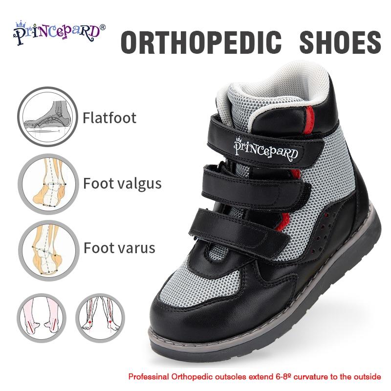 PRINCE PARD-أحذية تقويم العظام للأطفال ، أحذية رياضية عالية الكاحل مع دعم القوس ، أحذية رياضية جلدية تصحيحية للأولاد