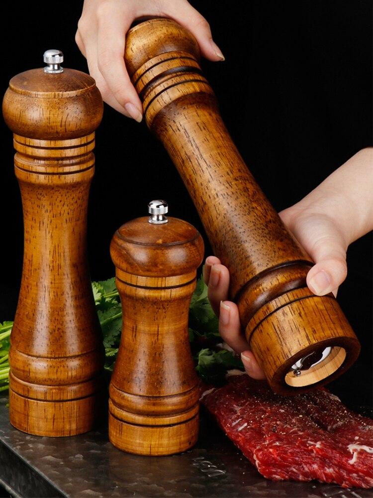 Мельница 5, 8, 10 дюймов для соли и перца, мельница из твердой древесины для специй и перца с прочной регулируемой Керамической мельницей, кухонные инструменты для готовки