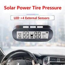 TPMS автомобильный датчик давления в шинах, интеллектуальная система на солнечной энергии, Беспроводной светодиодный дисплей с 4 встроенными или внешними датчиками