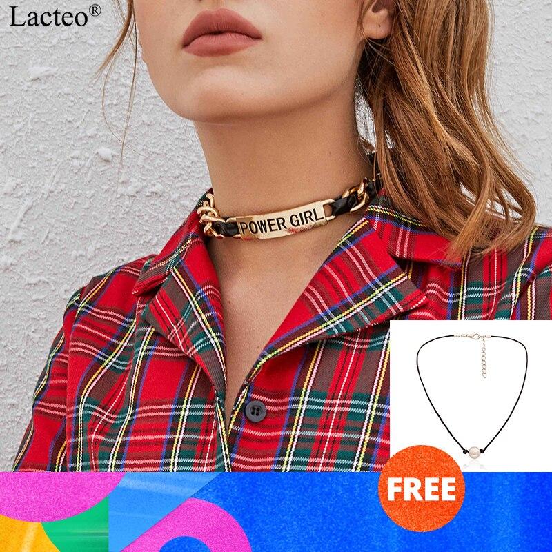 Lacteo Punk Dicken Quadratischen Marke Chunky Kette Halsband Halskette Schmuck für Frauen 2019 Hip Hop Schwarz PU Leder Charme Halskette geschenke