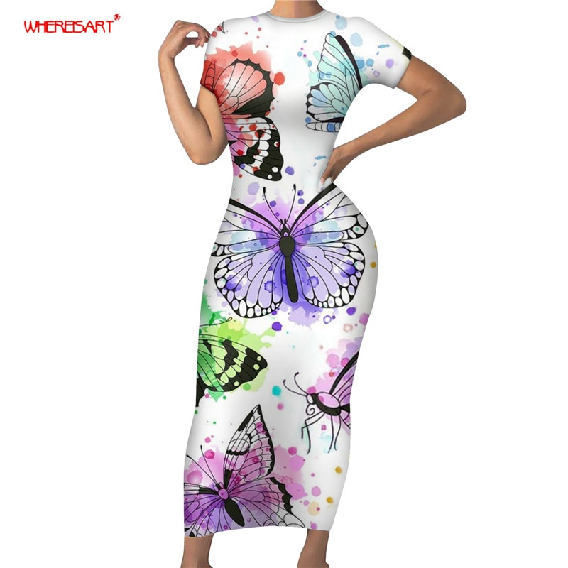 WHEREISART Dress Summer Colorful Butterflies Design Prom Dress Sexy Bodycon Dress Breathable Soft Ladies Slim Fitted Clothing