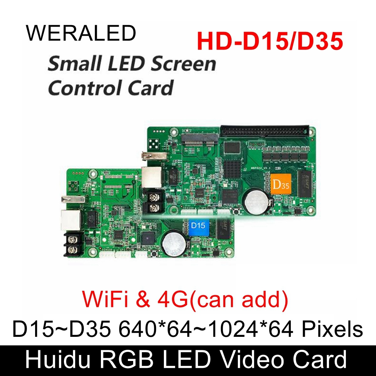 Huidu Asynchronization HD-D35 & HUB75E-5 Full Color LED Video Controller 1024*64 pixels Work with P2.5 P3 P4 P5 P6 P7.62 P8 P10