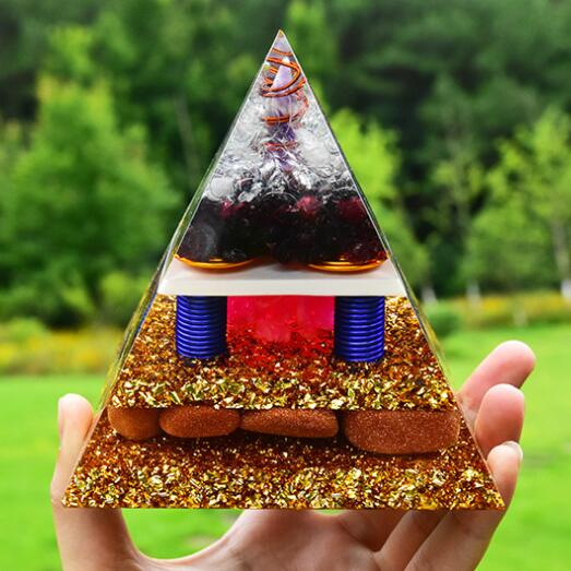 Large Handmade Energy Orgone Pyramid EMF Protection With Amethyst&pink Crystal Includes 4 Crystal Quartz Energy Points Orgonite