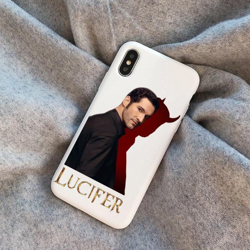 American TV Degenerate angel Lucifer white TPU soft  phone case For iphone SE 12pro 12mini  X XR XSMax 7 8 Plus 11 PRO MAX cover