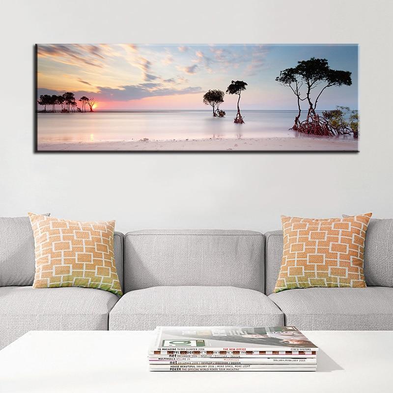 60x180 см натуральное море, пляж, дерево, заката, пейзаж, постеры и принты, Картина на холсте, настенное искусство для гостиной, Cuadros
