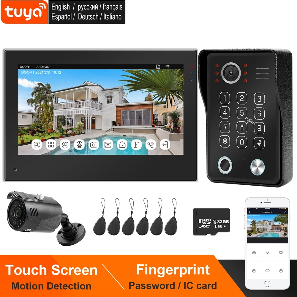 TUYA Smart WIFI Video Intercom System Home Video Door Phone 1080P Doorbell Camera Fingerprint RIFD Password 7 Inch Touch Screen