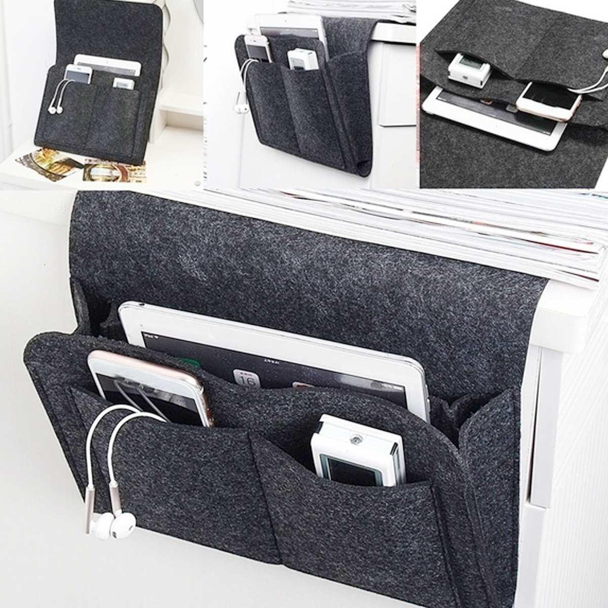 Organizador de almacenamiento para cabecera de cama de fieltro, bolsa de escritorio para cama, sofá, TV, mando a distancia, organizador de bolsillo para dormitorio, colegio o dormitorio