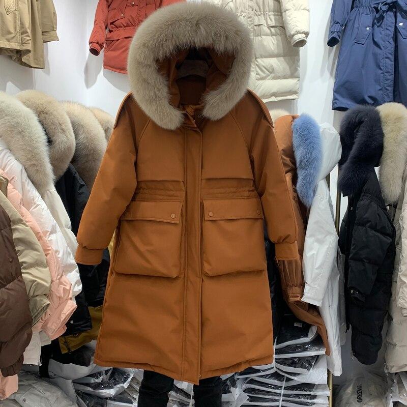 معطف شتوي عصري للنساء سميك دافئ طويل ياقة من الفرو الطبيعي 90% معطف مبطن بقلنسوة قابل للفصل