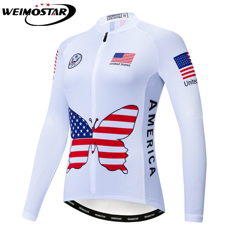 Weimostar mujeres Ciclismo Jersey manga larga Tops otoño primavera EE. UU. Equipo MTB bicicleta Jersey deporte bicicleta ropa Maillot Ciclismo