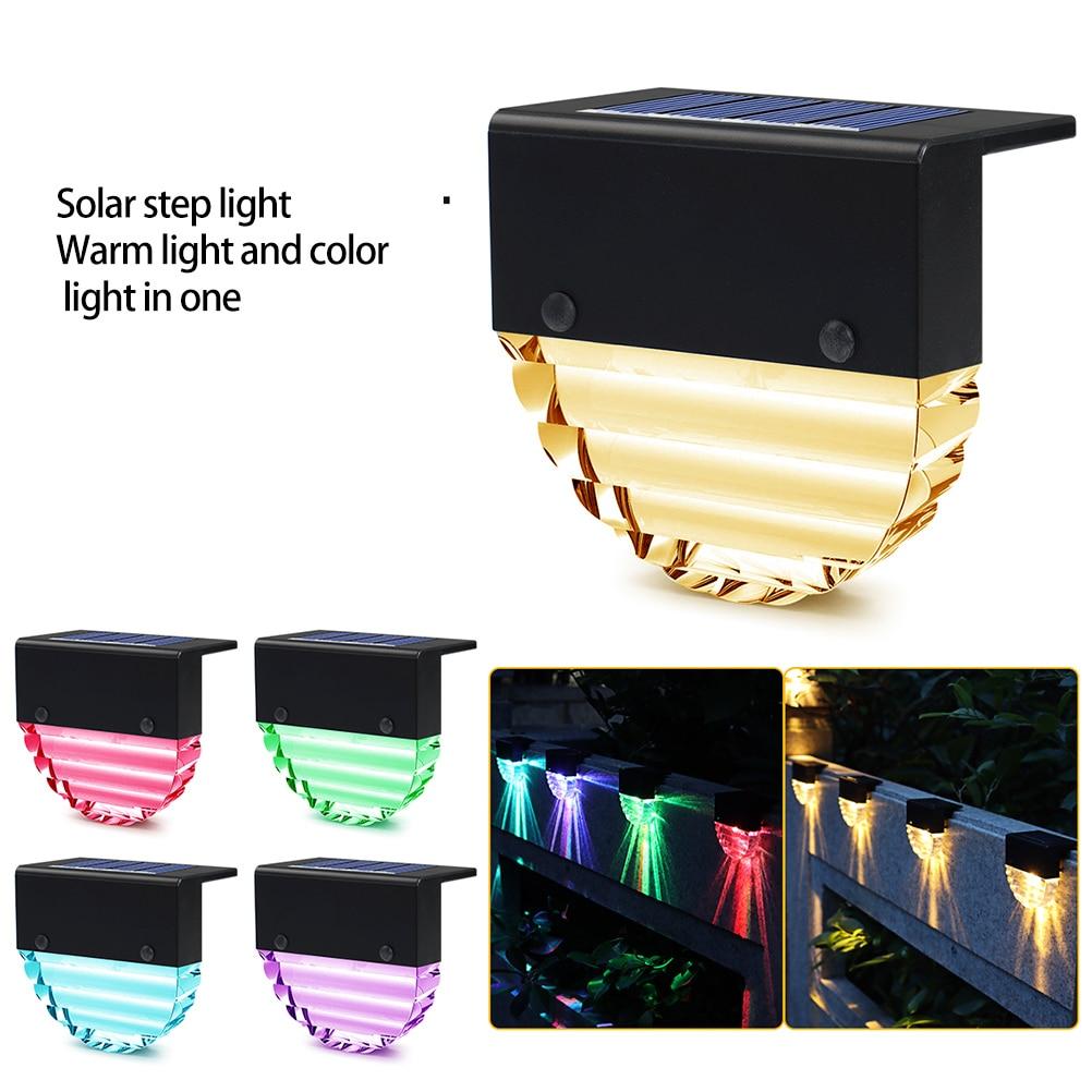 4 قطعة LED الشمسية مصباح مسار درج الشمسية مصابيح في الهواء الطلق إضاءات جدران ضد الماء حديقة أضواء المناظر الطبيعية سور شرفة مصابيح ليد بالطاق...