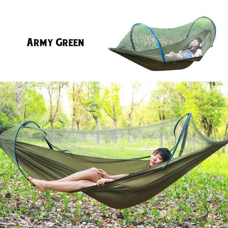 الأخضر الداكن المحمولة ناموسية خارجية صافي 260x150 سنتيمتر المظلة أرجوحة التخييم سرير معلق سوينغ