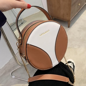 Color contrast Women Shoulder Bag Leather Ladies Messenger Bags Fashion Simple Female Handbag And Purses Lady Round Chain Bags