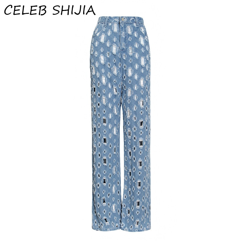 2020 nueva mujer Jeans hole vintage casual alta cintura denim Pantalones rectos Mujer pasarela diseño largo jeans Mujer otoño