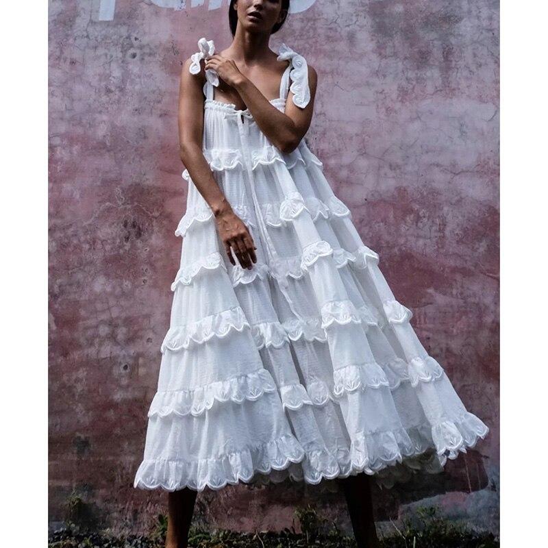 Ordifree 2020 verano Boho mujeres Maxi Cake vestido Spaghetti Strap encaje blanco Crochet túnica larga Vestido de playa