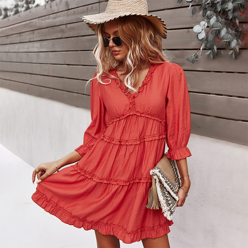 V Neck Sexy Lotus Leaf Sleeve Dress Women Dresses Summer 2021 New Solid Color High Waist Hedging Ruffle Splicing Swing Skirt
