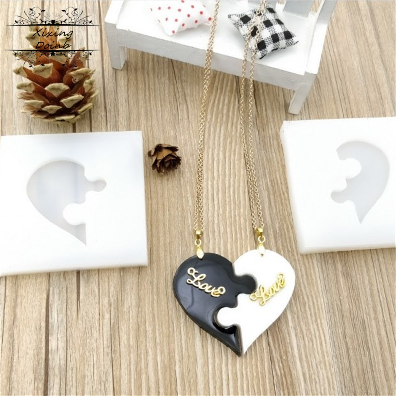 2 шт/набор, головоломка в форме сердца, силиконовая форма с отверстием для полимерной глины, Крафт, из эпоксидной смолы, серьги с подвесками