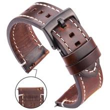Lederen Horlogebanden 18 Mm 20 Mm 22 Mm 24 Mm Zwart Donkerbruin Vrouwen Mannen Koeienhuid Watch Band Strap riem Met Gesp