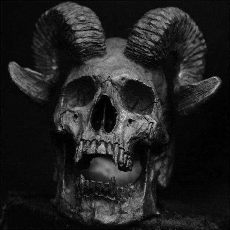 Кольцо, винтажное, в стиле панк, из нержавеющей стали, с чертиком, сатаной, череп козла, мужские байкерские украшения