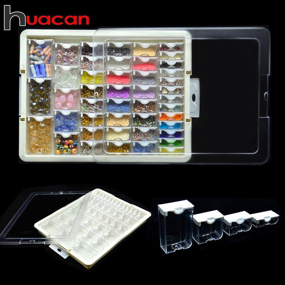 Huacan nueva pintura de diamante caja de almacenamiento, accesorios 5d DIY herramienta de mosaico de bordado de diamantes