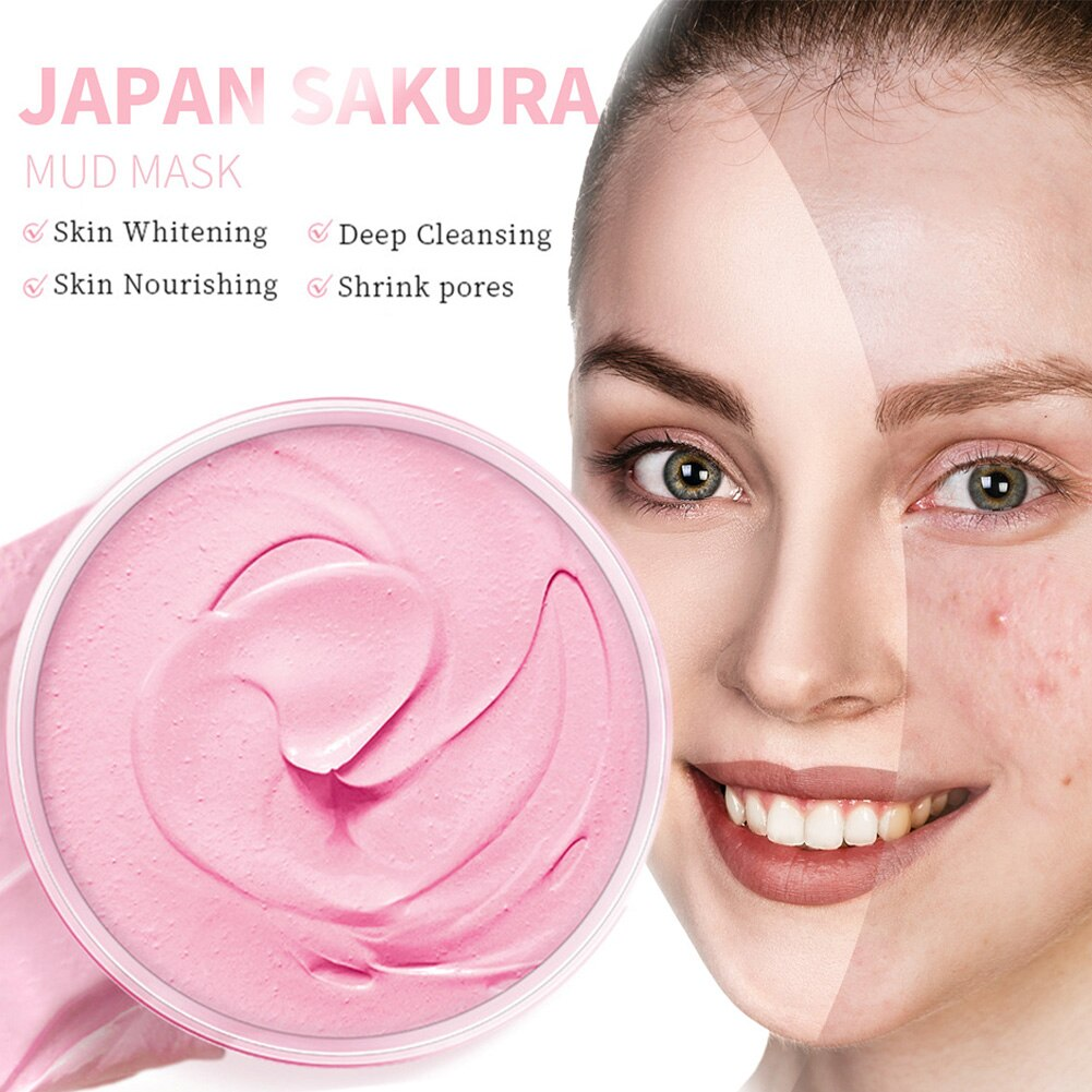 Hot sell Sakura Mud Mask Deep Cleansing Moisturizing Whitening Remove Blackhead Pores Oil Control Facial Mask Face Care shipping new yi xiangyuan essential oil of lavender moisturizing and lubricating five parts of deep cleansing pores set for facial care