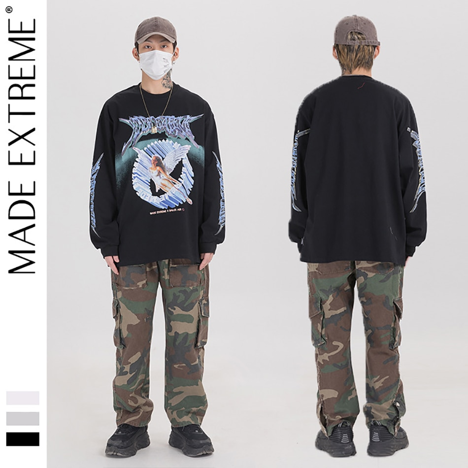 The Latest In Spring And Autumn 3D Angel Print Long Sleeve Tees Shirts Streetwear Hip Hop Casual Loose Men Fashion Top
