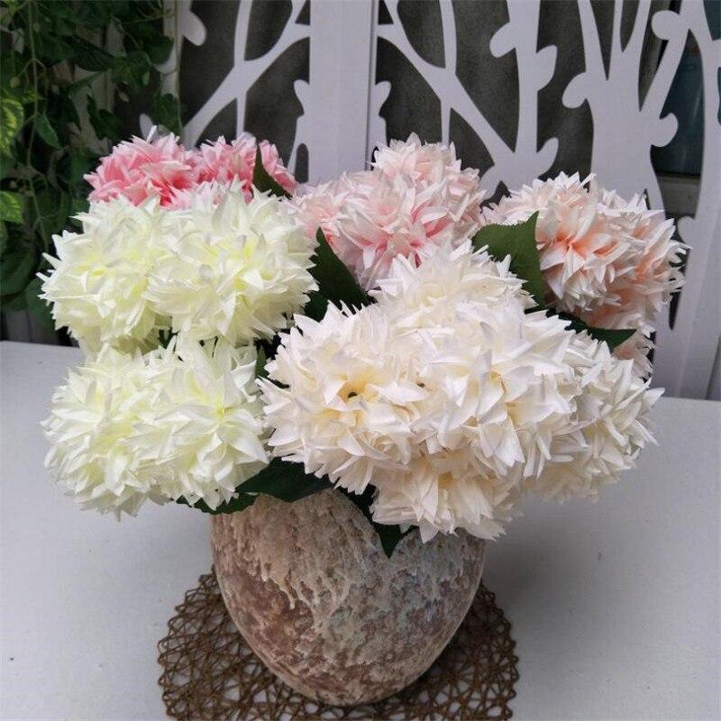 """8 piezas de hortensia falsa (5 cabezas/manojo) 17,72 """"longitud simulación hortensias redondas para boda hogar flores artificiales decorativas"""