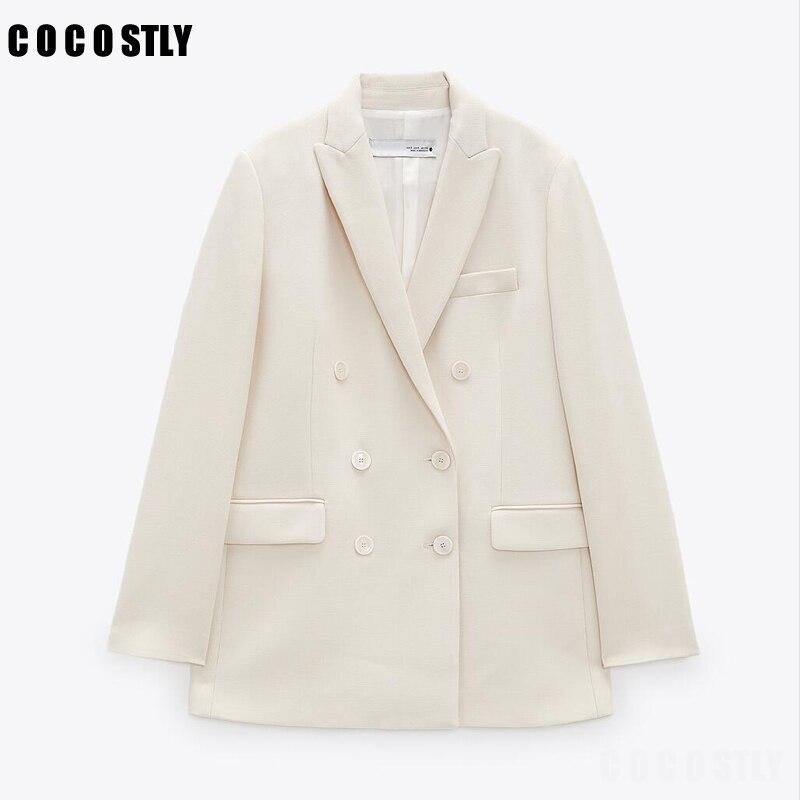 جديد موضة 2021 سترات بيضاء خريفية للنساء سترات وجاكيتات للمكتب معطف بدلة بأزرار جيوب للخروجات اليومية ملابس خارجية