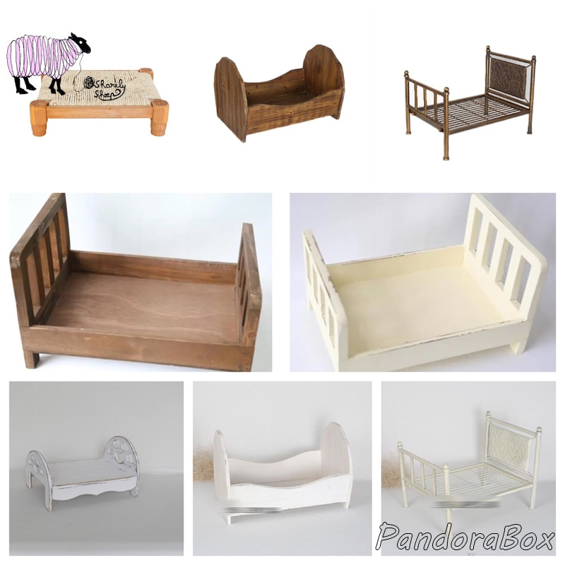 Newborn Baby Photography Props Wood Bed Baby Photo Shoot Studio Posing Wooden Basket fotografia Accessory Baby fotoshooting Prop