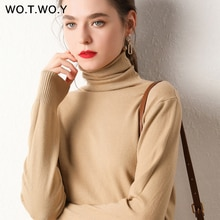 Wotwoy outono inverno básico de malha turleneck camisola feminina fino ajuste manga longa cashmere suéteres feminino branco rosa puxar femme