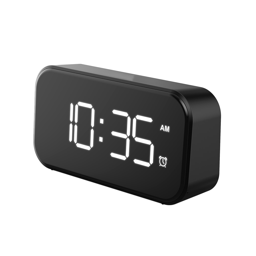 LED Mirror Screen Alarm Clock Mirrored Snooze Time Calendar with Adjustable Lighting Modern Electric Table Clock Decor