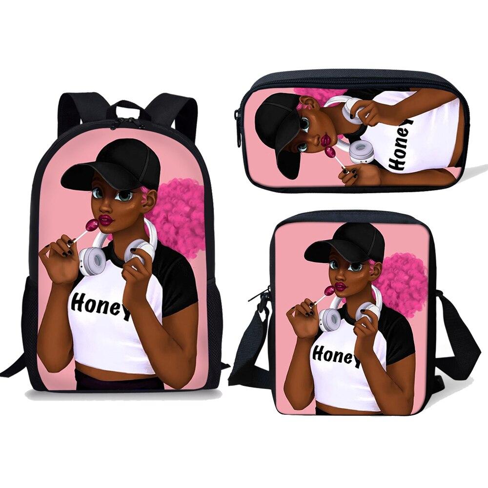 NOISYDESIGNS Children School Bags For Teenage Boys 3PCS/SET Black Girl Magic Afro Lady Printing Kids Backpack Mochila Escolar