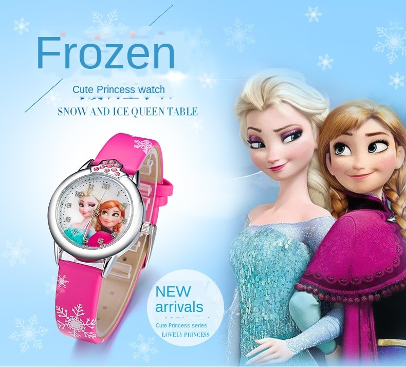 Elsa Watch Girls Elsa Princess Kids Watches Leather Strap Cute Children's Cartoon Wristwatches Gifts