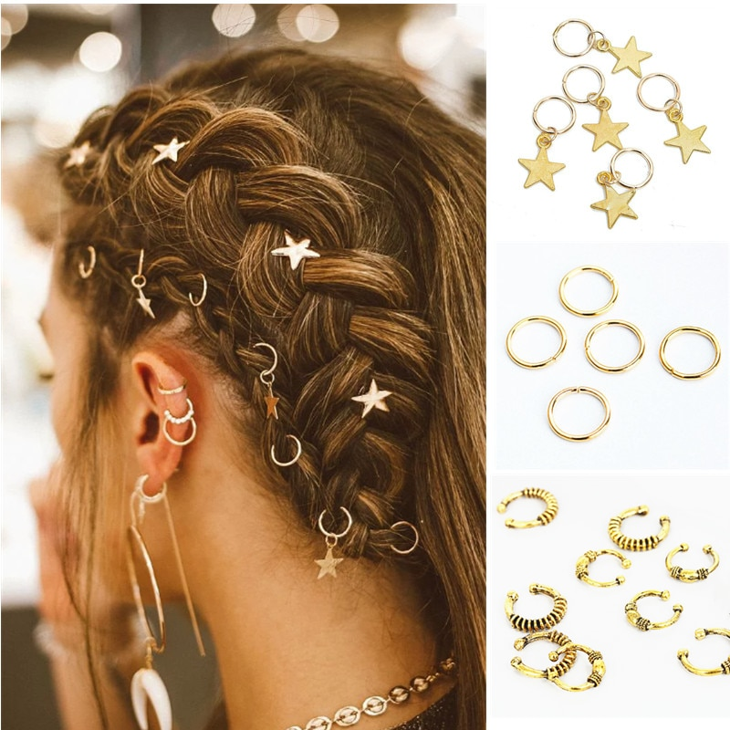 5pcs/Pack Different 49 Styles Charms Hair Braid Dread Dreadlock Beads Clips Cuffs Rings Jewelry Dreadlock Clasps Accessories