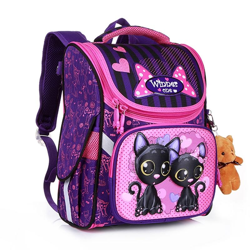 New Fashion Cartoon School Bags Backpack for Girls Boys Bear Cat Design Children Orthopedic Backpack