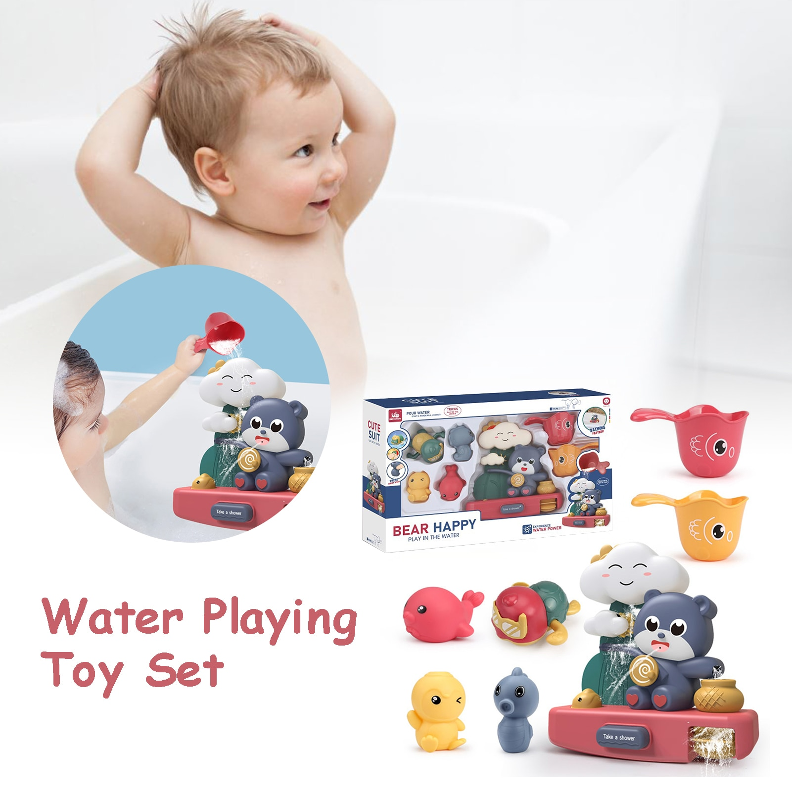 High Quality Cute Baby Bath Toys Interesting Children Water Playing Toy Set Small Waterfall Gift For Kids Bathroom enlarge