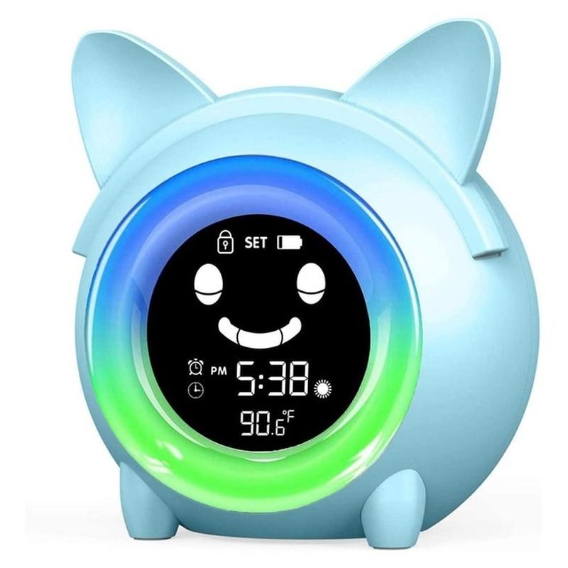 ساعة منبه رقمية مع مؤقت لدرجة الحرارة للأطفال ، ساعة ملونة مع إضاءة ليلية لغرفة النوم