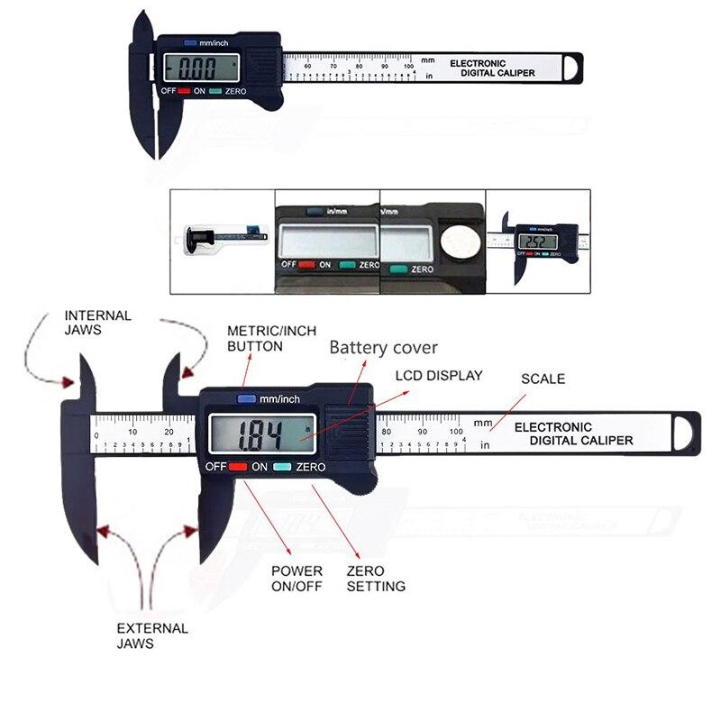 Цифровой электронный нониусный Калибр 0-100 мм с ЖК-дисплеем, микрометр, измерительный инструмент, строительные инструменты, штангенкуль ль