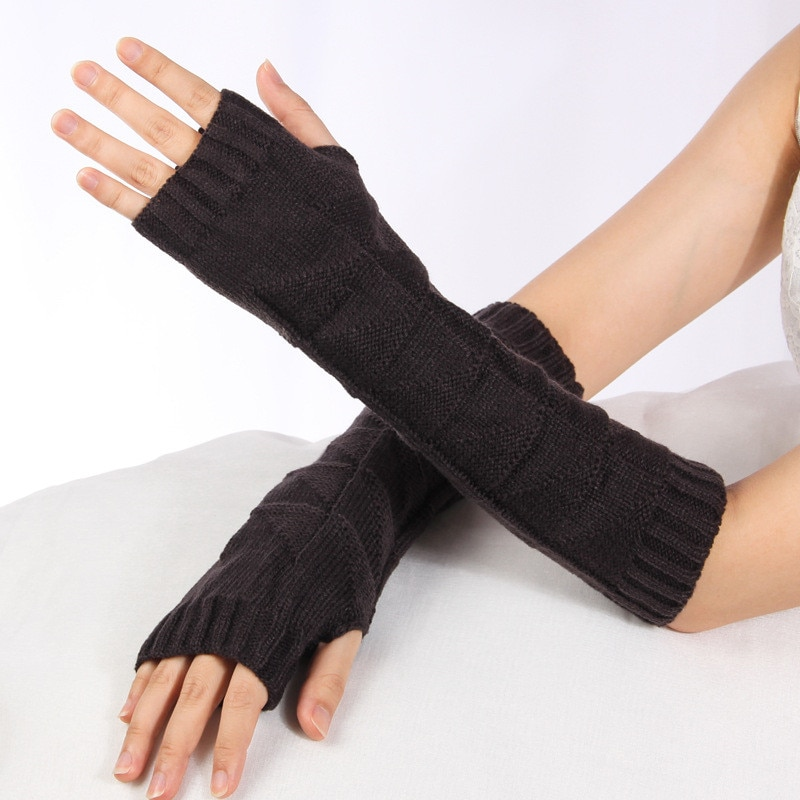 H:HYDE Black Punk Gothic Unisex Fingerless Gloves Cuff Women Men Sport Outdoor Elbow Length Mittens Stretch Arm Warmer