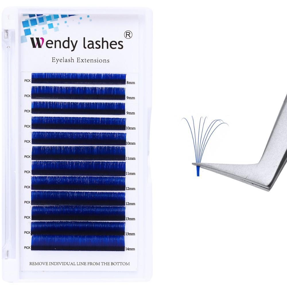 Cor eyalash extensão fácil fã 8-14mm mix lenth cílios falsos vison falso florescendo cílios verde/roxo/vermelho/azul chicote suprimentos