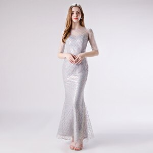 Luxury Evening Dress Long Wedding Party Dresses Sleeves Womens Plus Size Formal Dress Lace Long Mermaid Evening Dresses Beaded