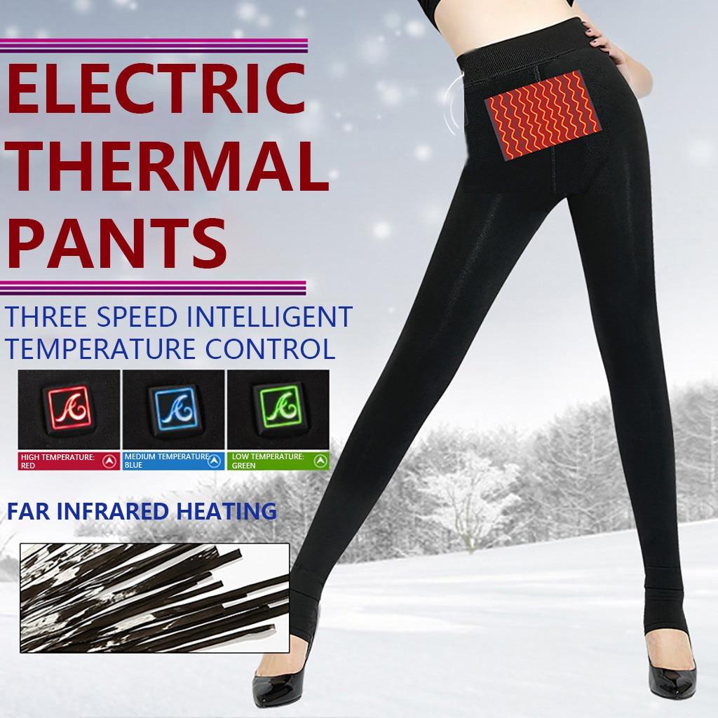 Pantalones calentados para mujer, pantalones de calefacción de motocicleta, pantalones eléctricos de calefacción térmica por USB, ropa interior, ropa de invierno #3