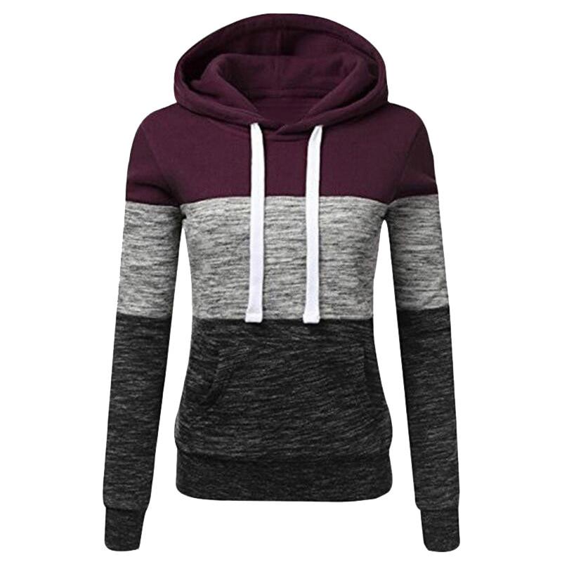 chic hooded long sleeve polka dot pocket design women s hoodie Solid Color Fleece Hoodie Women's Casual Hooded Pocket Long Sleeve Pocket Patchwork Pullover Sweatshirt  Plus Size S-3XL