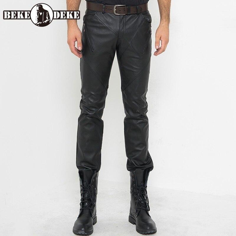 Bootcut-بنطلون رجالي من الجلد الطبيعي ، ملابس عالية الجودة ، مناسب تمامًا ، مناسب لراكبي الدراجات النارية ، مقاوم للرياح ، مصنوع من الجلد الطبيع...