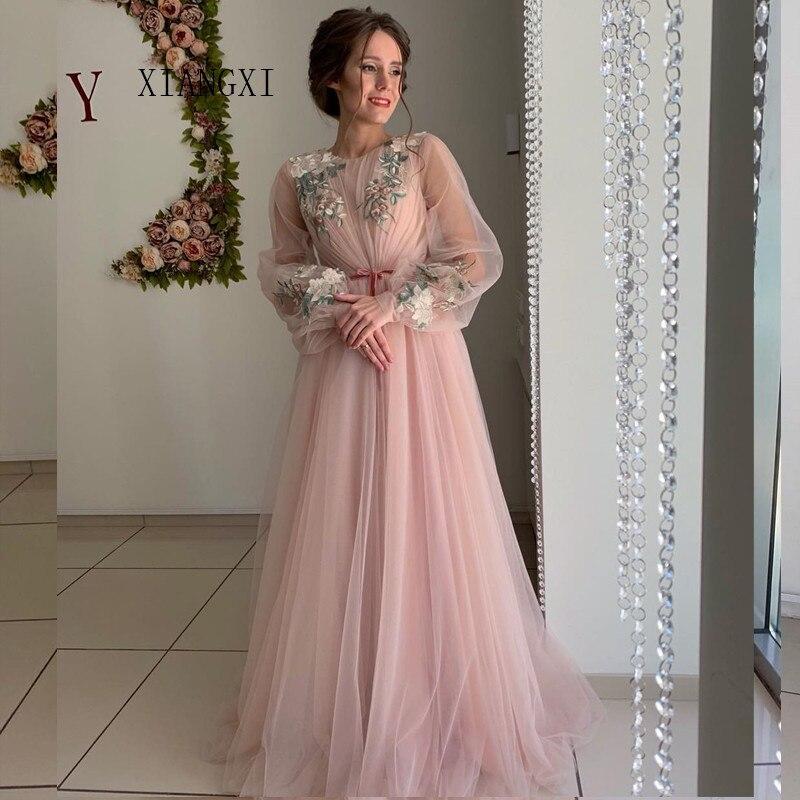 Очаровательные розовые вечерние платья из тюля, а-силуэт, круглый вырез, длинные рукава, кружевные аппликации, Длинные вечерние платья, офиц...
