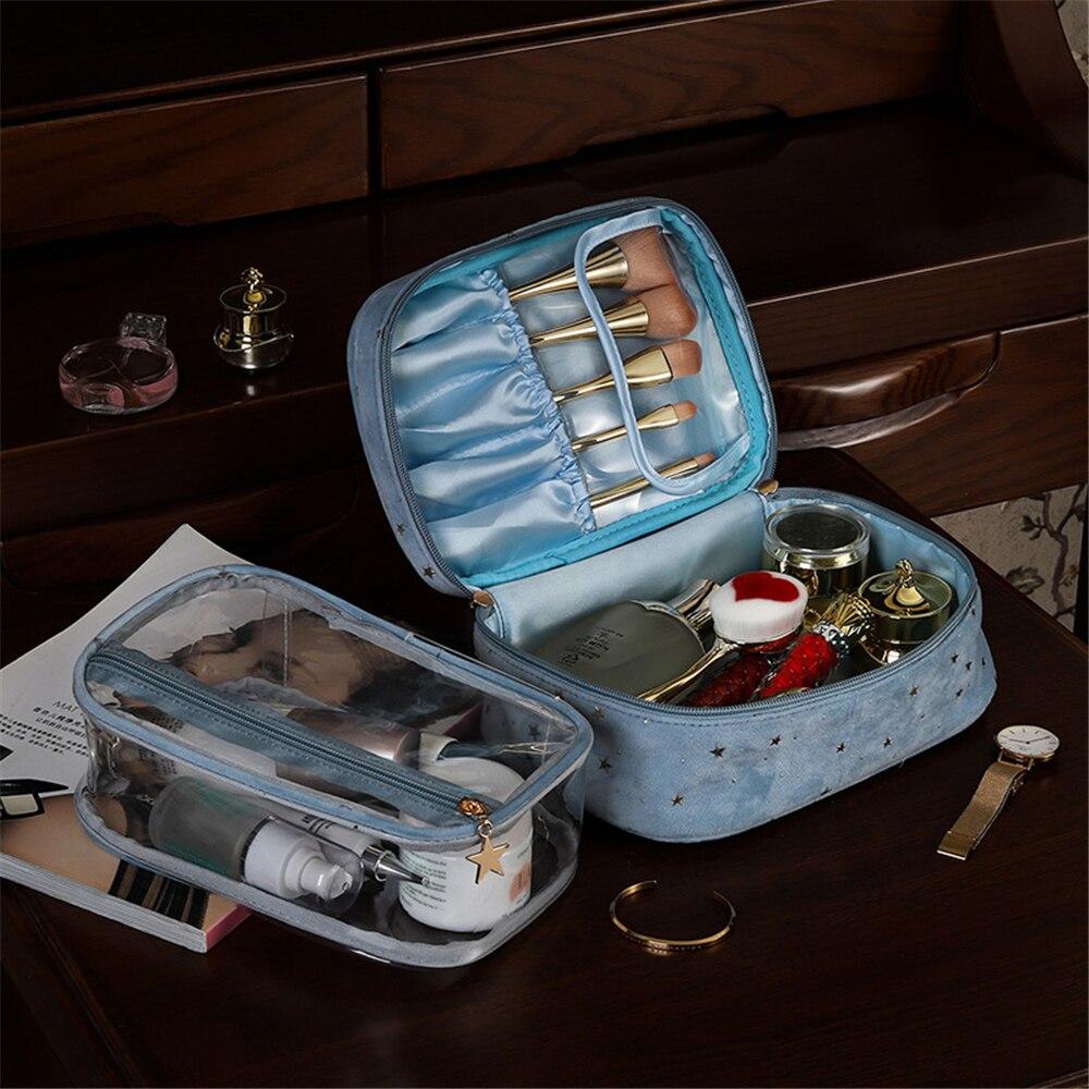 Women's Cosmetic Bag Makeup Storage Travel Suitcase Organizer Case Doypack Zip Handbag Portable Sham